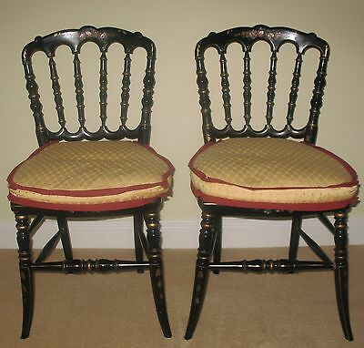 Stunning Pair Of Matching Black Antique French Cane Seat Side Chairs