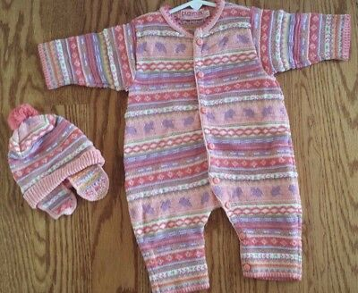 Boutique French CLAYEUX Pink Stripe Chenile One Piece Romper with Hat