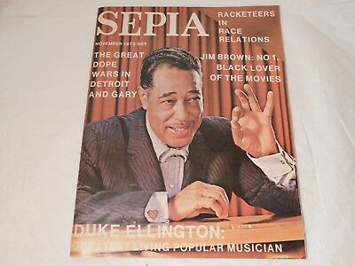 Sepia Magazine Duke Ellington Nov. 1972 Jim Brown African American History
