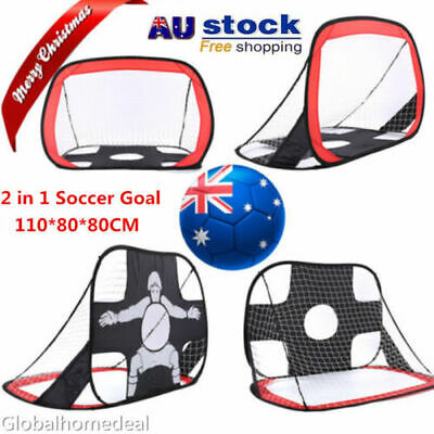 2 in 1 Football Soccer Goal Net Pop Up Kids Foldable Portable In/Outdoor Sports