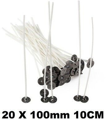 20 CANDLE WICKS for Candle Making Quality Cotton PRE WAXED SUSTAINERS 100mm 10CM