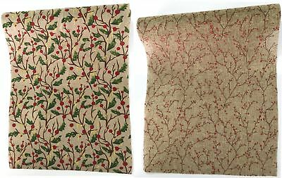 New 2.7Meters Christmas XMAS Table Runner Hessian w Pattern Red Green Decoration