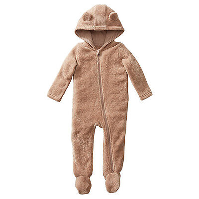 NWT Target Boys Girls Coral Fleece Coverall Romper with Hood Ears Size 0000