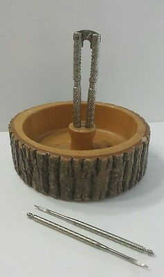 Vintage Tree Wood Nut Cracker Bowl with Crackers and Picks Retro Decor Rustic