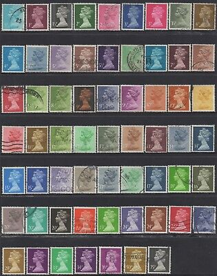 Great Britain 1971 Machins  Collection Of (61) Stamps Used Cv.£37.00