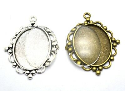 2pcs Antique Silver/Bronze Cameo Cabochon Base Setting Charm Pendants 30x40mm