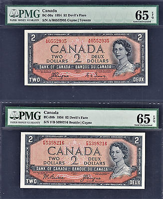Canada $2 PAIR 1954 Devil's Face BC-30a & BC-30b Both GEM UNC PMG 65 EPQ