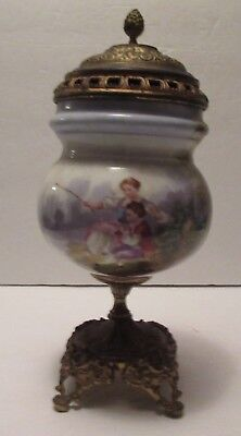 Vintage French Urn Featuring Mother Fishing With Son and Country Scenes, H.P.