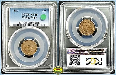 1857 1c Flying Eagle Cent PCGS XF45 Extra Fine Vintage Penny Classic Copper Coin