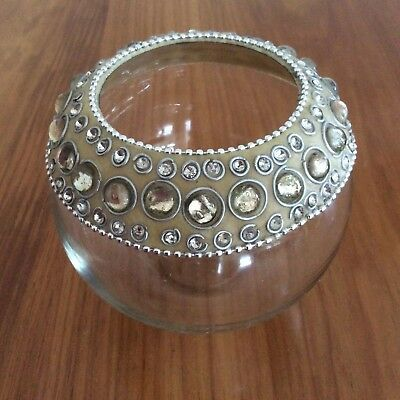 Gorgeous Small Decorative Bowl - Has Glass Inserts & Silver Trims On Top