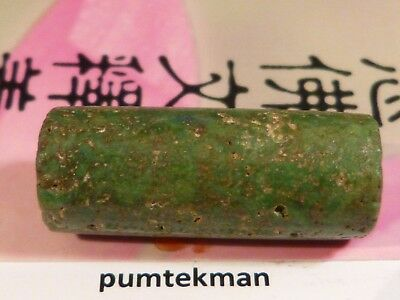 Large Ancient Pre-Columbian Tairona Green Jade Tube Bead Perfect 28 By 11 Mm