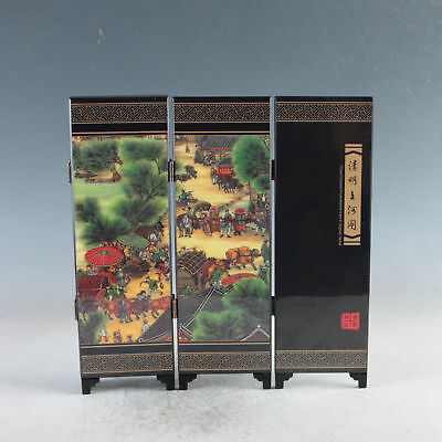 Exquisite Lacquer ware Handwork Riverside Scene At Qingming Festival Screen