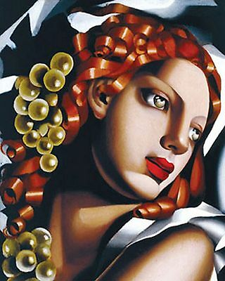 Strikingly Modern Art Deco Lady Draped In White With Auburn Hair  [A5 Print]