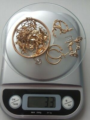 Scrap Gold 32 grams 9ct 375. Damaged Bangle, earrings, chain, clasps etc