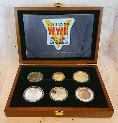 2005 Allied Forces 6 Coin Silver Proof Set - Royal Mint Box & COA .999 .925 .900