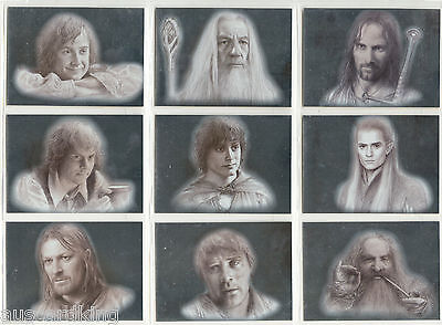 Lord of The Rings (LOTR) - Masterpieces - Silver Foil Chase Card Set (9) - NM