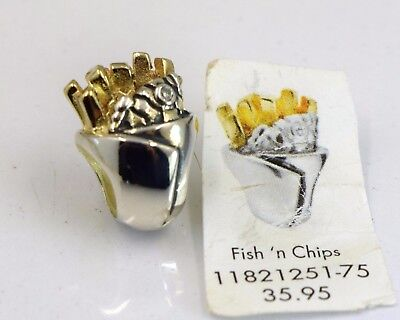 Genuine LOVELINKS silver & gold plated 'Fish n Chips' bead