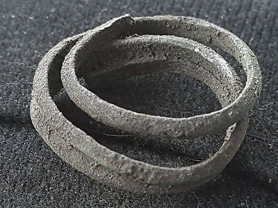 Viking VR Bronze ancient coiled finger ring as found condition in England L48r