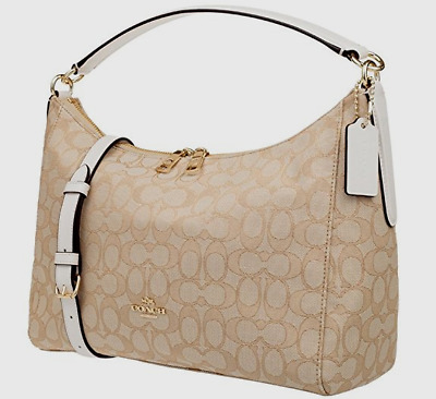 37e9f778ccc99 New Coach 58284 Celeste Outline Signature Hobo Shoulder Bag Canvas Khaki    Chalk