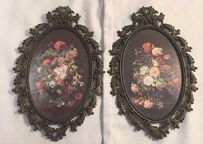 Set Of Two Imported Antique Mid Century Ornate Brass Italian Picture Frames