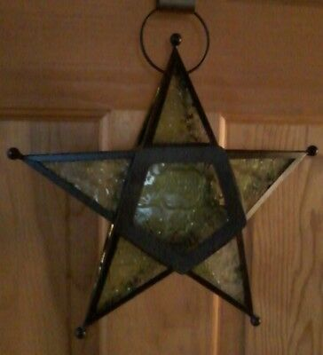 Hanging Green Glass And Metal Star Shaped Tea Candle Holder