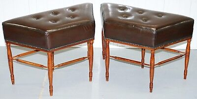 Lovely Pair Of Large Restored Hand Dyed Brown Leather Window Seat Bench's Rare