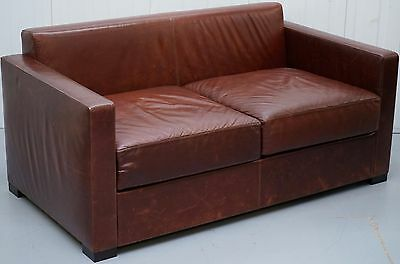 Rrp £6200 Poltrona Frau Linea A Two Seater Sofa By Peter Marino Brown Leather
