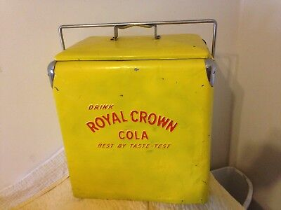 Vintage ROYAL CROWN COLA Tall Ice Chest Cooler Yellow w/ Red Lettering