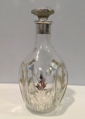 Antique Pinched Decanter Sterling Silver Overlay Flowers w/ Crystal Stopper WOW!