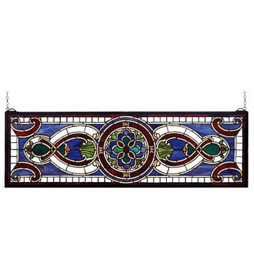Tiffany Style Stained Glass Window Panel Transom Evelyn Lapis Home Decor