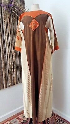 Vintage 1970's Josefa Hand Embroidered Mexican Cotton Caftan Dress M/L