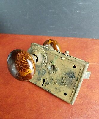 antique Marbled Door Knobs lock Russell Erwin Victorian hardware Architectural