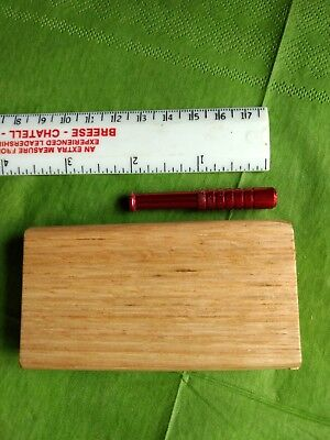 "Handmade Reclaimed oak dugout with  2"".metal cigarette pipe forTobacco"