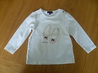 Paul Smith Age 18M Baby Girls White Cotton Long Sleeve Top Pink Shoes Design