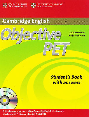 CAMBRIDGE ENGLISH Objective PET Student Book w Answers & CD-ROM 2nd Edition @NEW