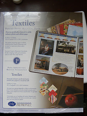 Creative Memories Collection - TEXTILES PAPER PACK-12 sheets/6 Colors-10x12-NEW
