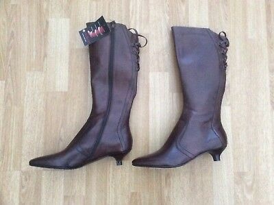 Ladies Emotion Knee High Leather Comfy Boots Style Nancy Brown Size Uk 7
