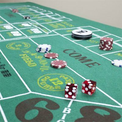 """Craps Table Felt by Brybelly 72"""" x 36"""" Water Resistant Casino Game Portable NEW"""