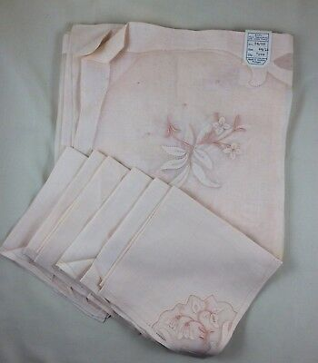Vintage New Madeira Portugal Linen on Organdy Tablecloth & 6 Napkins