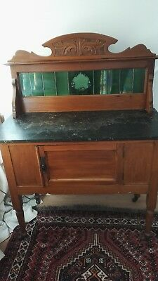 Victorian antique sturdy washstand cupboard console green tile back, marble top