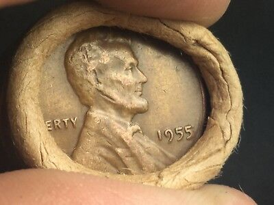 Vintage Sealed Wheat Penny Roll Capped By 1955 Double Die And 1909 VDB Penny