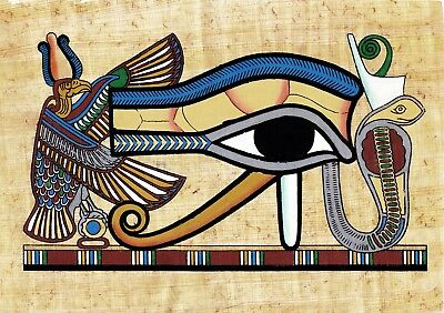"Egyptian Hand-painted Papyrus The Eye of Horus King Tut's Tomb 10"" x 8"" IMPORTED"