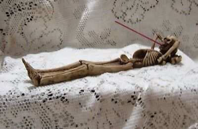 "Skeleton Bones Incense Ash Catcher Resin Incense Burner 10""  New Boxed Sk-25"