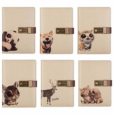 B6 password Lock Leather Notebook Cute Secret Diary Portable Note Animal Style