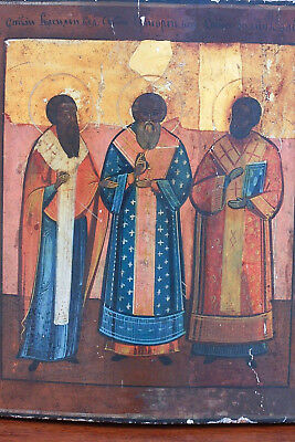 19th Century Painted, Gilt, Russian Icon, Wood, Three Holy Hierarchs , Orthodox