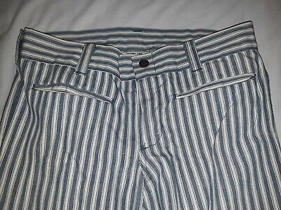 70s Time and Place brand White & Blue Striped Vintage Pants - Size 5 VTG 1970s