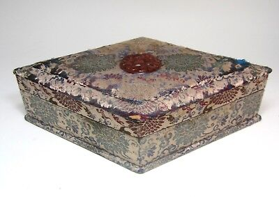 "Antique Chinese brocade and carved red agate box 11"" ½ x 7"" x 2"" 3/4"