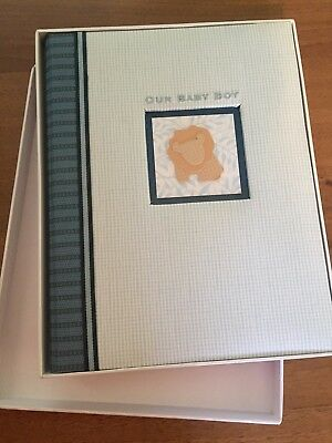 CR Gibson Alex Memory Book for Baby Boy Blue and white – New!