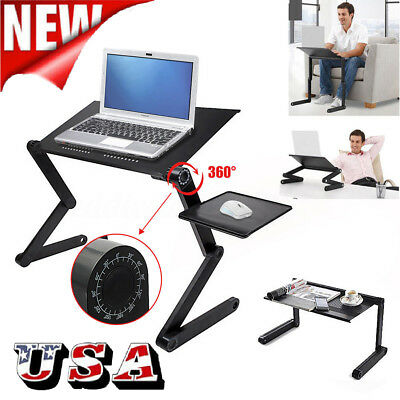 360° Adjustable Foldable Laptop Notebook PC Desk Table Vented Stand Bed Tray US