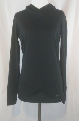 Under Armour Womens Size Small Fitted Hooded Shirt Coldgear Black Long Sleeve